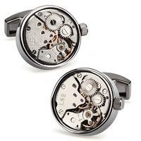 Запонки Watch Cufflinks Steampunk Gun Metal Movement 70711